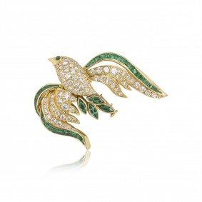 Yellow Gold Diamond and Emerald Bird Brooch